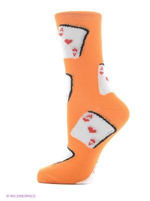 Носки Хох. Цвет: белый, оранжевый, светло-зеленый
