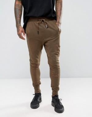 Other UK Рваные облегающие джоггеры. Цвет: коричневый