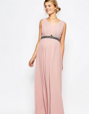 Little Mistress Maternity Платье макси для беременных с глубоким декольте и отделкой на талии Li. Цвет: розовый