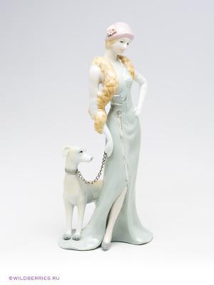 Фигурка Дама с собакой Pavone. Цвет: светло-голубой, молочный