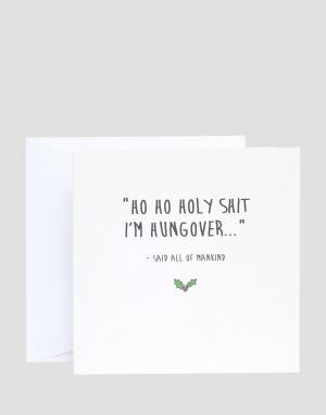 The Naughty Little Card Shop Новогодняя открытка Im Hungover. Цвет: мульти