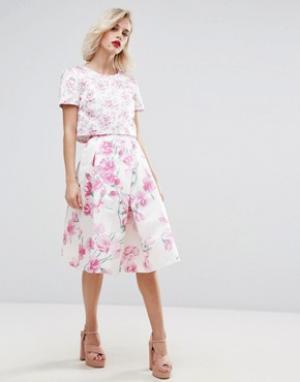 Horrockses Комбинируемая юбка миди с принтом. Цвет: мульти
