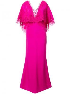 Платье с рукавами в стиле накидки Marchesa. Цвет: розовый и фиолетовый