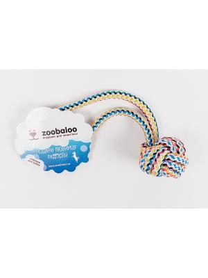Мяч с ручкой для собак из п-п шнур 30см Zoobaloo. Цвет: красный