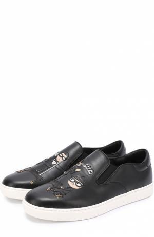 Кожаные слипоны London с аппликацией Dolce & Gabbana. Цвет: черный