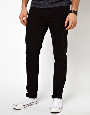 Farah Узкие джинсы из черной саржи Drake. Цвет: черный