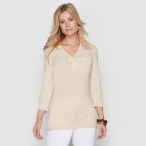 Пуловер из двух материалов ANNE WEYBURN. Цвет: бежевый,черный
