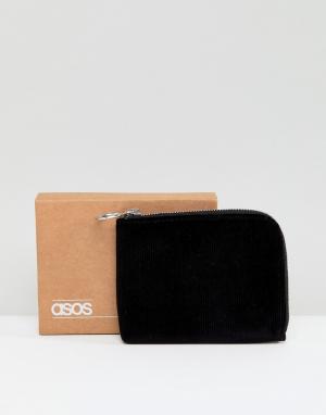 ASOS Черный вельветовый бумажник на молнии. Цвет: черный