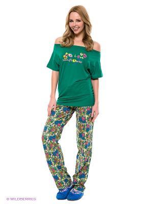 Пижама Vienetta Secret. Цвет: зеленый, желтый, синий