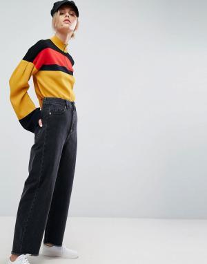 ASOS Черные джинсы с широкими штанинами. Цвет: черный
