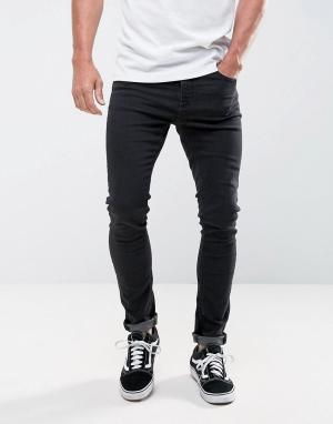 LDN DNM Супероблегающие черные джинсы. Цвет: черный