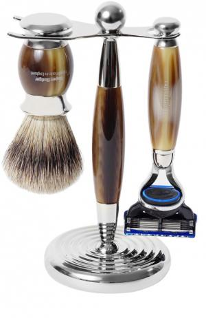Кисть для бритья Станок с лезвием Fusion Рог Truefitt&Hill. Цвет: бесцветный