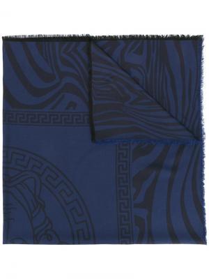 Шаль Zebra Medusa Versace. Цвет: синий
