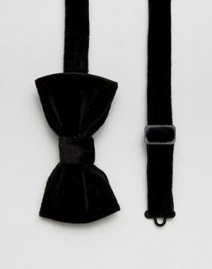 Devils Advocate Однотонный бархатный галстук-бабочка. Цвет: черный