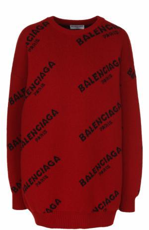 Пуловер свободного кроя с логотипом бренда Balenciaga. Цвет: красный