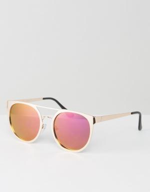 ASOS Круглые солнцезащитные очки в оправе цвета розового золота с розовыми. Цвет: золотой