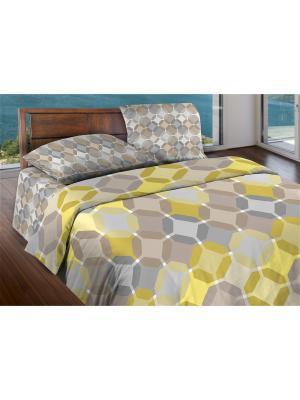 Комплект постельного белья 2,0 бязь Sanremo Wenge. Цвет: серый, светло-желтый