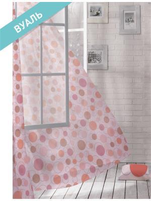 Комплект штор (2 шт.) Волшебная ночь, 150см*270см, ткань-Вуаль,  стиль-ЛОФТ, FLASH ночь. Цвет: розовый