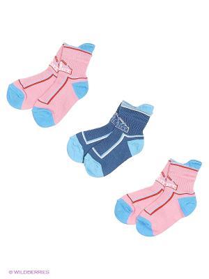 Носки - 3 пары Гамма. Цвет: розовый, синий