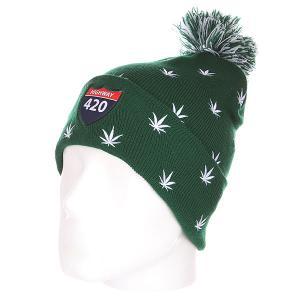Шапка с помпоном  Weedy Pom Beanie Green/White TrueSpin. Цвет: зеленый,белый