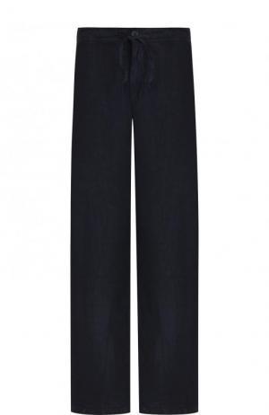 Льняные брюки прямого кроя с поясом на кулиске 120% Lino. Цвет: темно-синий