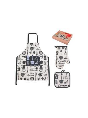 Набор - фартук, прихватка, рукавичка Кухонная утварь EL CASA. Цвет: белый, серый