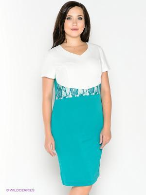 Платье Alego. Цвет: бирюзовый, белый