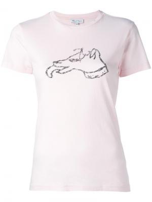 Футболка с принтом собаки Bella Freud. Цвет: розовый и фиолетовый