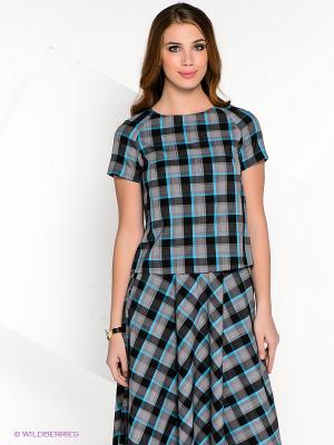 Блузка AKIMBO. Цвет: черный, серый, голубой