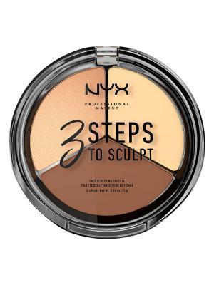 Тройная палетка для контурирования. 3 STEPS TO SCULPT FACE SCULPTING PALETTE - LIGHT 02 NYX PROFESSIONAL MAKEUP. Цвет: темно-коричневый, бежевый, золотистый