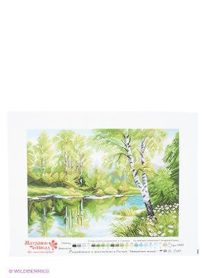 Рисунок на канве Березы у озера Матренин Посад. Цвет: белый, зеленый