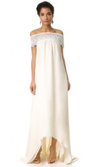 Вечернее платье с открытыми плечами Self Portrait. Цвет: оттенок белого