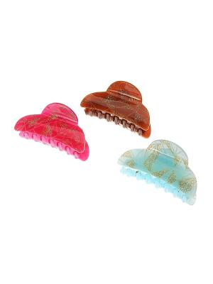 Заколка - краб (3 шт.) Migura. Цвет: голубой, коричневый, розовый