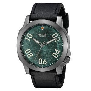Часы  Ranger 45 Leather Gunmetal/Green Oxyde Nixon. Цвет: зеленый,черный,серый