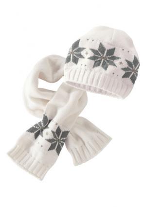 Комплект, 2 части: шапка + шарф KLITZEKLEIN. Цвет: телесный