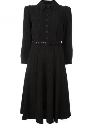 Платье в тонкую полоску с поясом Jean Paul Gaultier Vintage. Цвет: чёрный