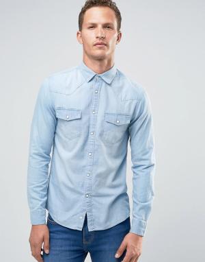 Celio Джинсовая рубашка узкого кроя с длинными рукавами. Цвет: синий