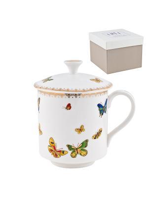 Кружка фарфоровая с крышкой Italy Design Elff Ceramics. Цвет: белый