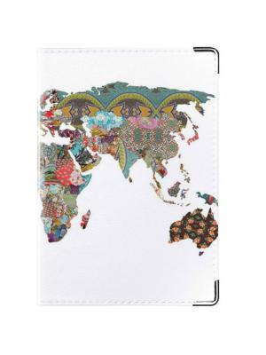 Обложка для паспорта Карта мира Tina Bolotina. Цвет: бирюзовый, белый