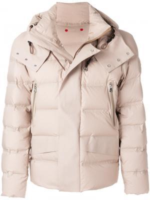 Стеганое пальто с капюшоном Peuterey. Цвет: телесный