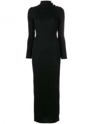 Длинное платье с отворотной горловиной Balmain. Цвет: чёрный