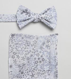 ASOS Белый галстук-бабочка и платок для пиджака с цветочным принтом DE. Цвет: белый