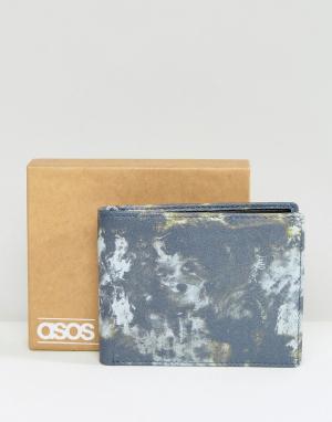ASOS Кожаный бумажник с камуфляжным принтом. Цвет: синий