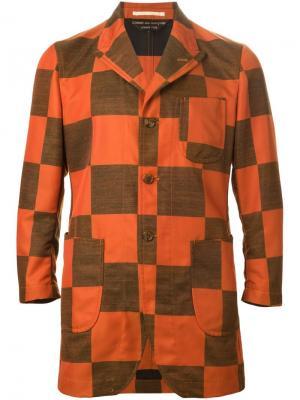 Пиджак в клетку Comme Des Garçons Vintage. Цвет: жёлтый и оранжевый