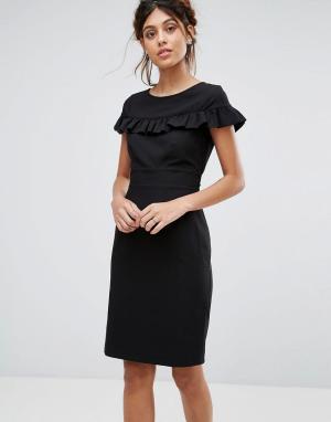 Closet London Платье миди с короткими рукавами и оборкой. Цвет: черный