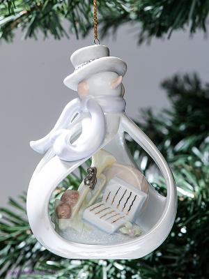 Фигурка подвесная Снеговичок Pavone. Цвет: белый, бежевый