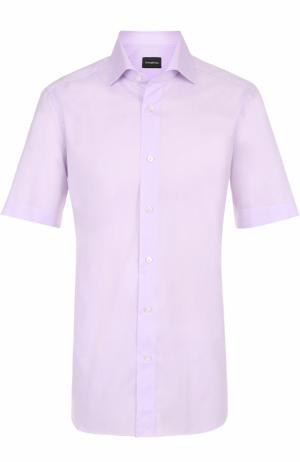 Хлопковая рубашка с короткими рукавами Ermenegildo Zegna. Цвет: светло-сиреневый