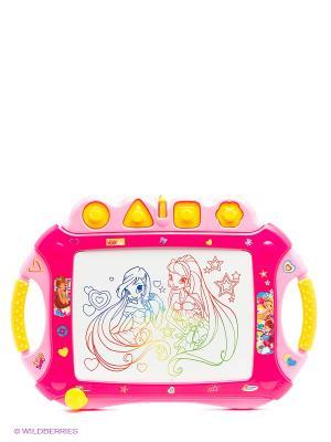 Доска для рисования Играем вместе Винкс магнитная цветная. Цвет: фуксия, розовый, желтый, белый