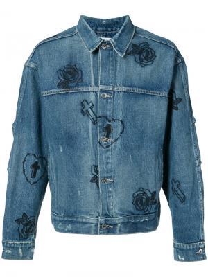 Джинсовая куртка с вышитыми розами Mr. Completely. Цвет: синий