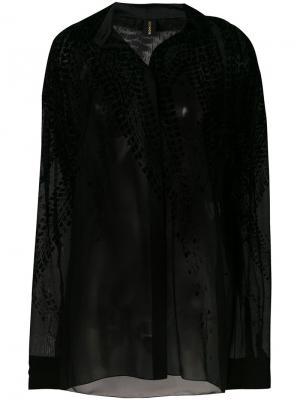 Рубашка с бархатной отделкой Alexandre Vauthier. Цвет: чёрный